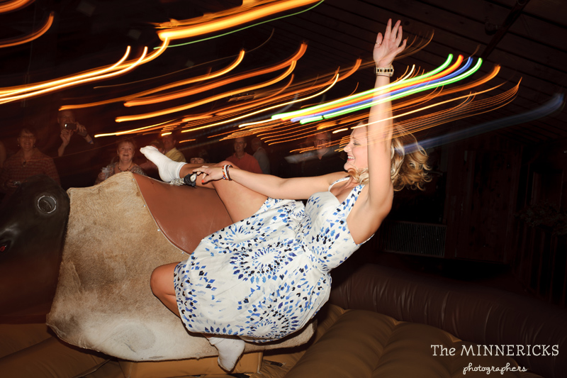 Texas style mechanical bull riding at a wedding reception at Circle R Ranch in Flower Mound (10)
