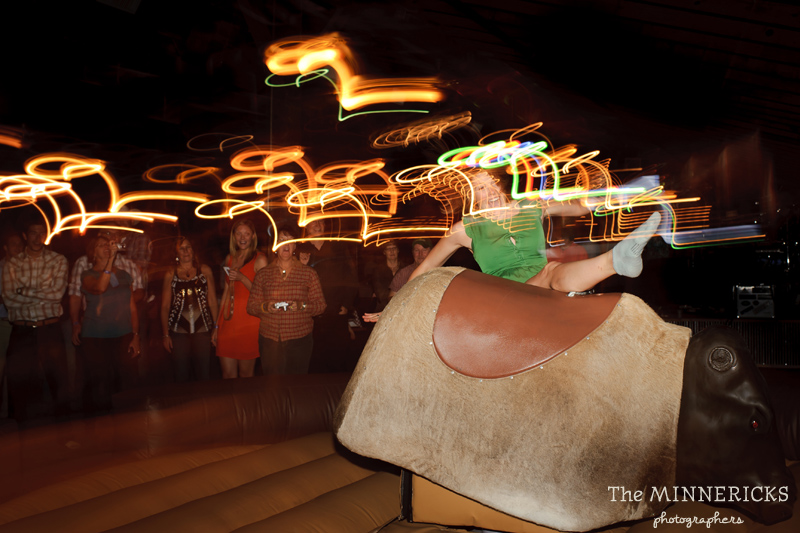 Texas style mechanical bull riding at a wedding reception at Circle R Ranch in Flower Mound (14)